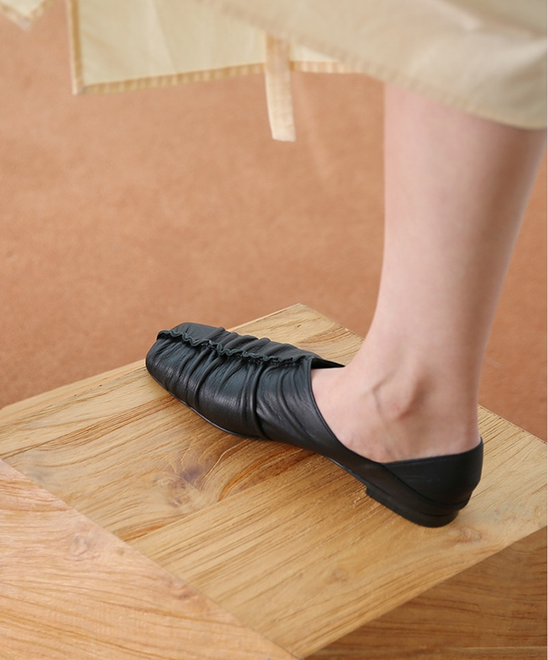 Jennet Shirring Flats_ BLACK