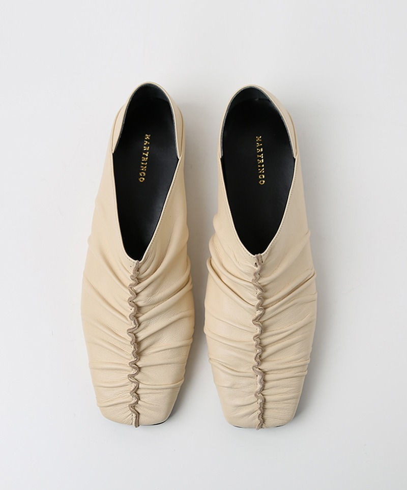 Jennet Shirring Flats_ CREAM